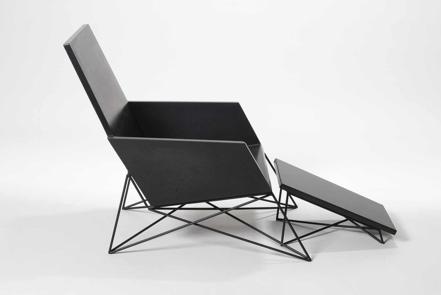 Hard Goods Concrete and Steel Modern Muskoka Outdoor Chair Carbon Edition with Ottoman
