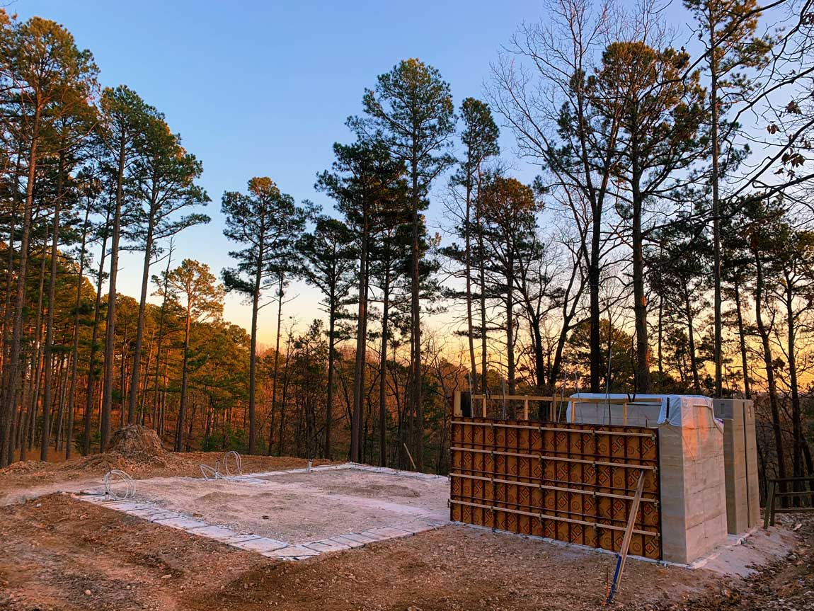 The modern cabin build site in NW Arkansas