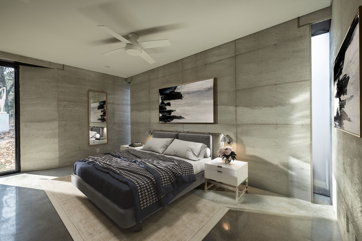 The modern master suite is organic modern, clean and simple, with real materials such as limestone rammed earth, polished concrete floors, and steel framed glass windows