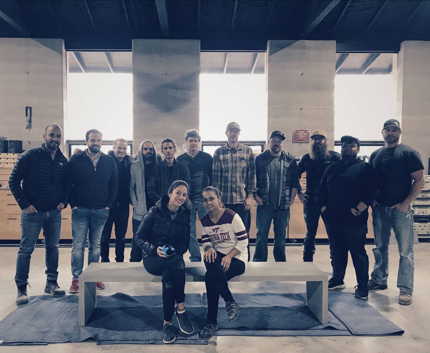 Post tensioned concrete and furniture design workshop class photo