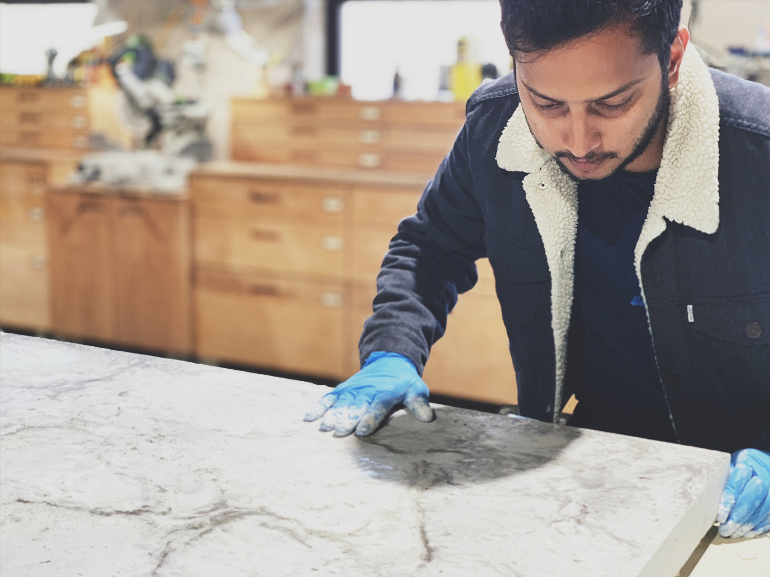 Concrete Design School attendee learning the ultimate in gfrc countertops and sinks
