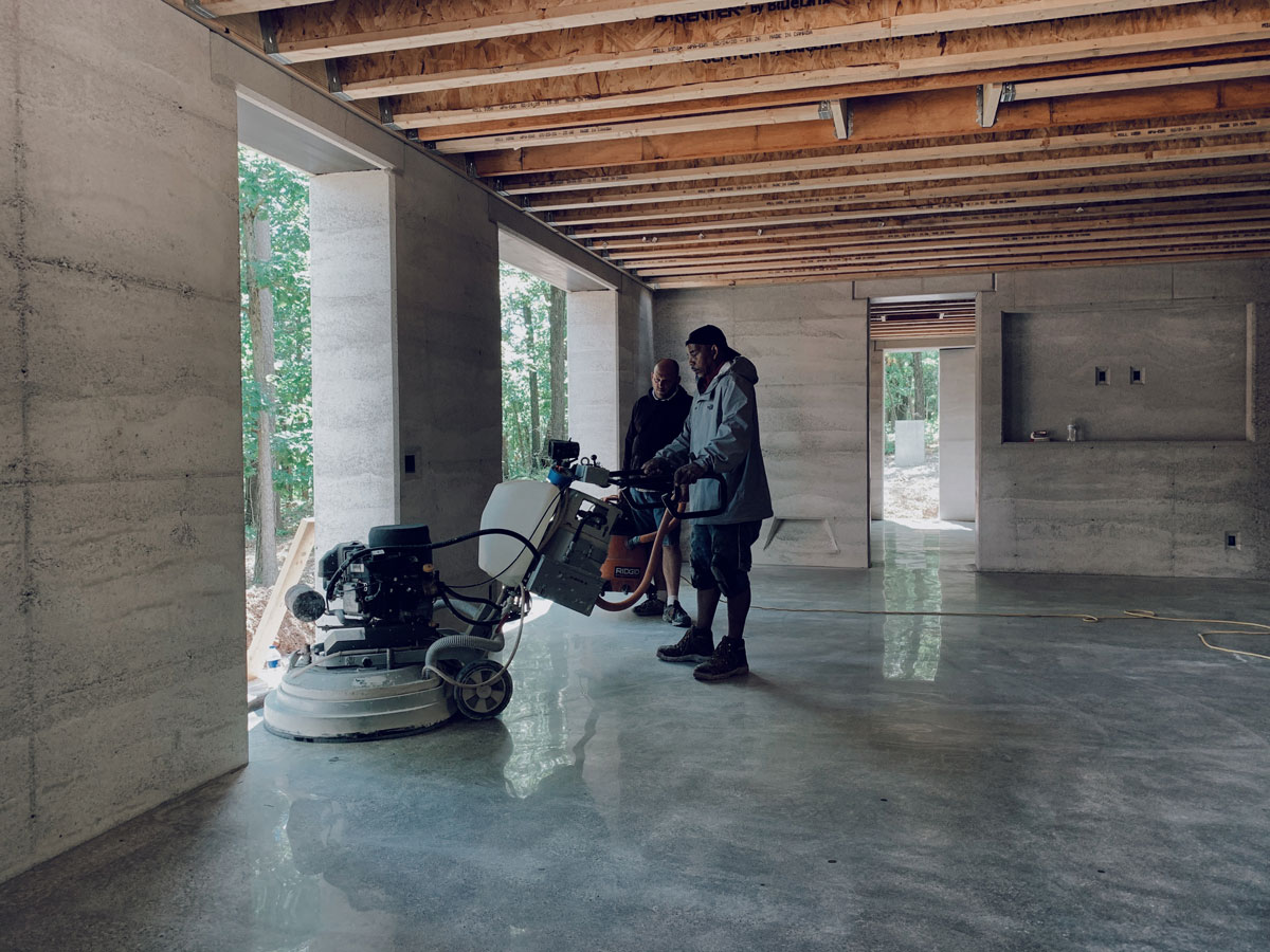 Polishing the concrete floor to a natural terrazzo finish in NW Arkansas