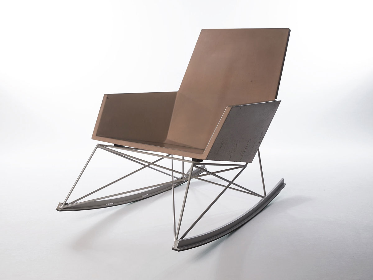 A Concrete + Steel Rocking Chair built to last forever, indoors or out