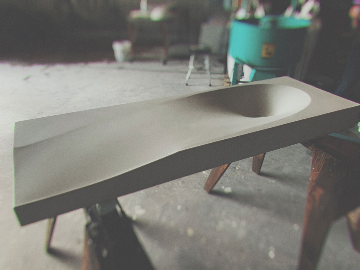 a fabric formed concrete sink made with Kodiak Pro Maker Mix