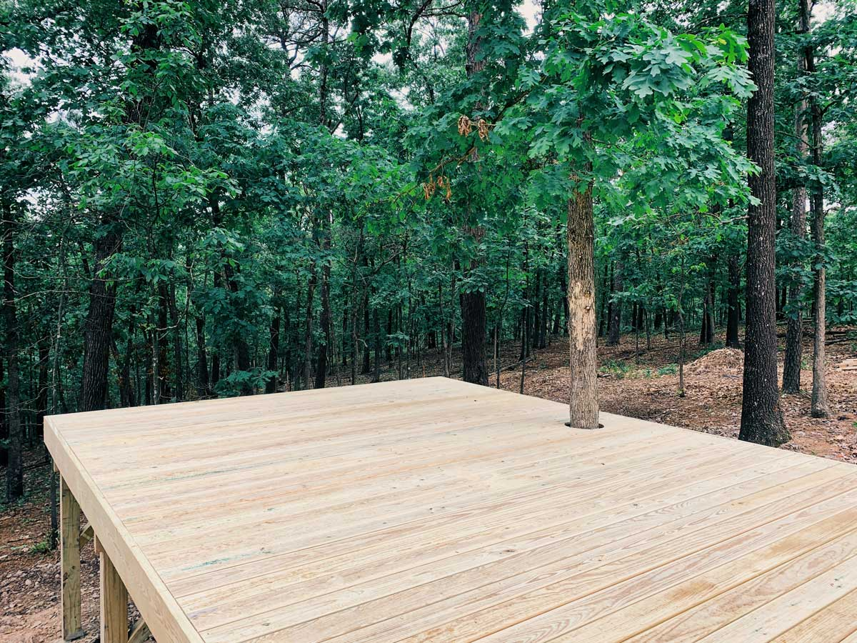 This wood deck will be a great place for relaxing and enjoying nature in the Ozarks.