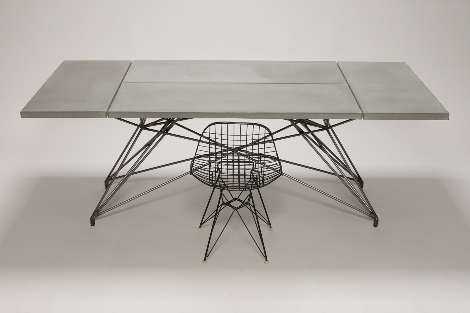 Mid century modern custom concrete and steel table