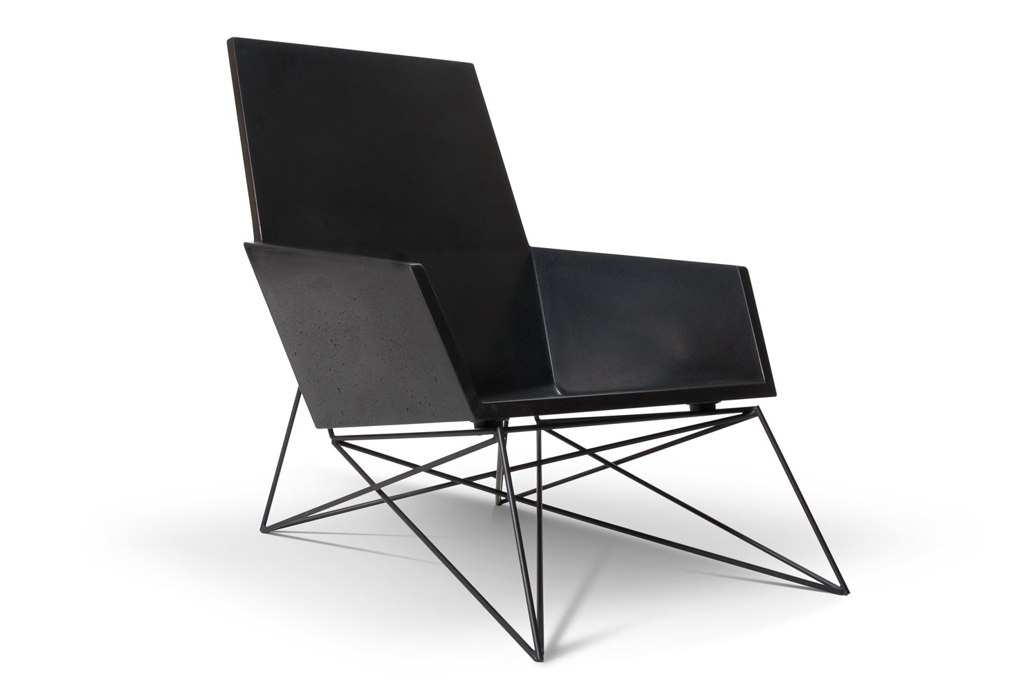Hard Goods Concrete and Steel Modern Muskoka Outdoor Chair Carbon Edition