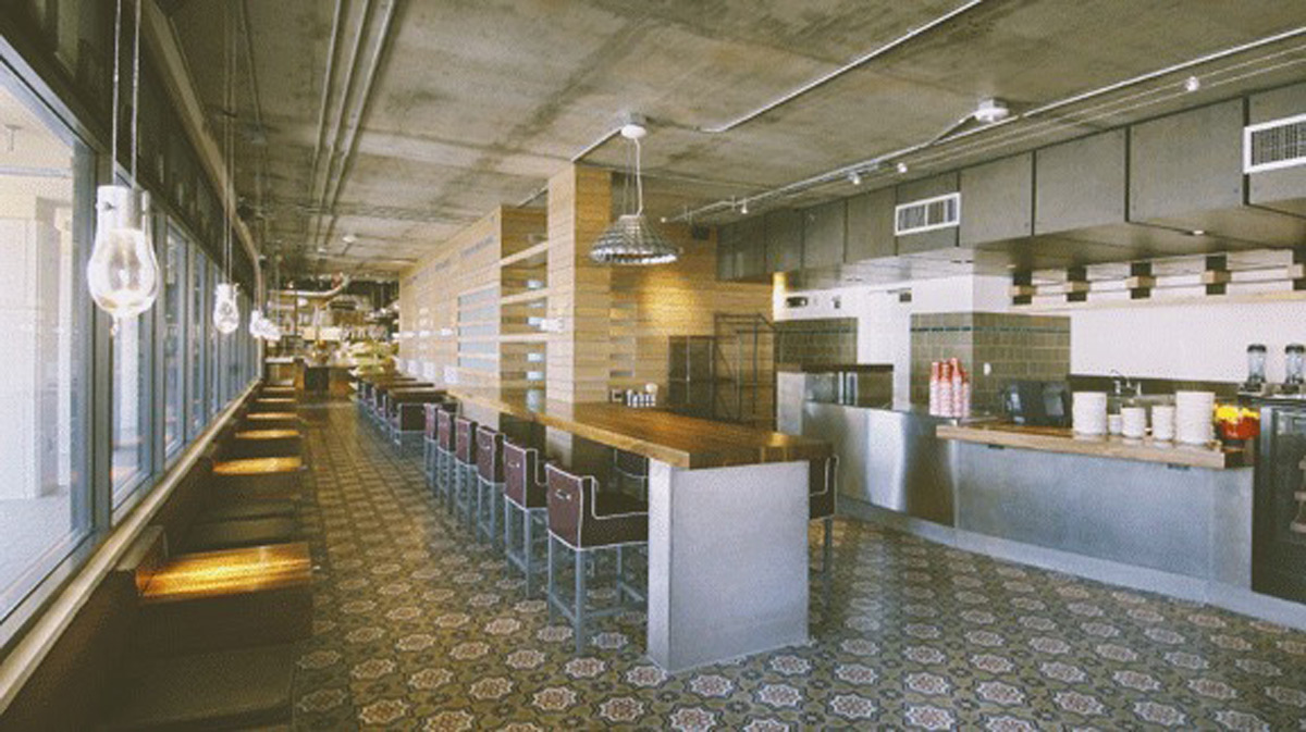 Custom steel wall panels, countertops, benches, tables and more for this commercial space