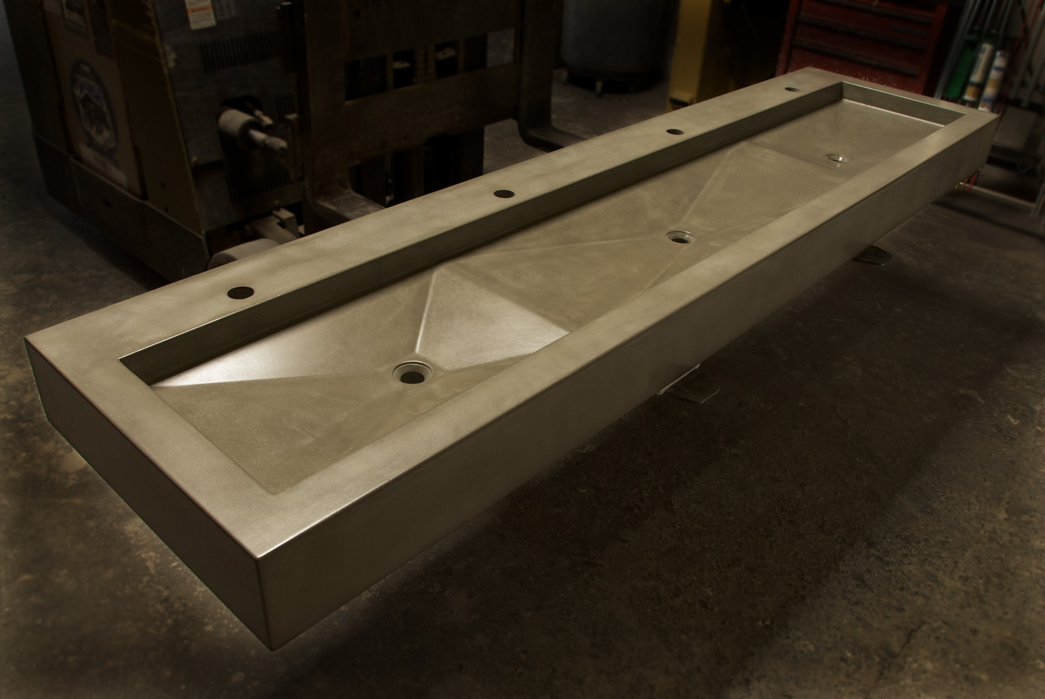 Triple basin modern concrete sink in natural grey for a restaurant in Dallas, TX