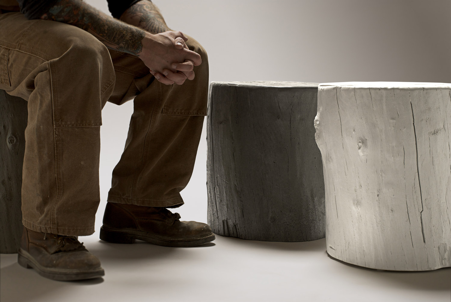 Concrete Knotty Tree Stump Stools make great seating or side tables