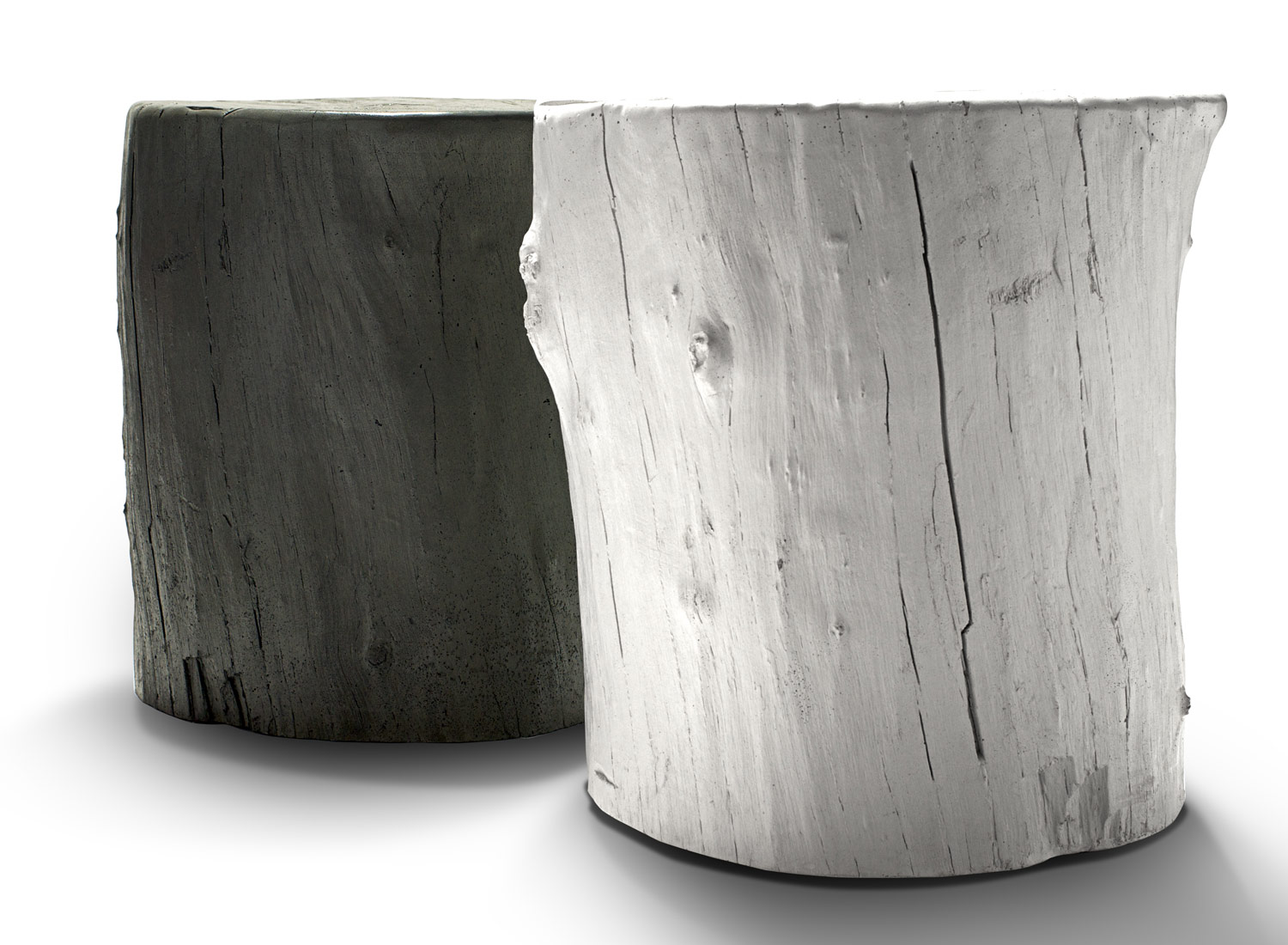Hard Goods Concrete Knotty Stool, a Concrete Tree Stump Stool that'll Last Forever