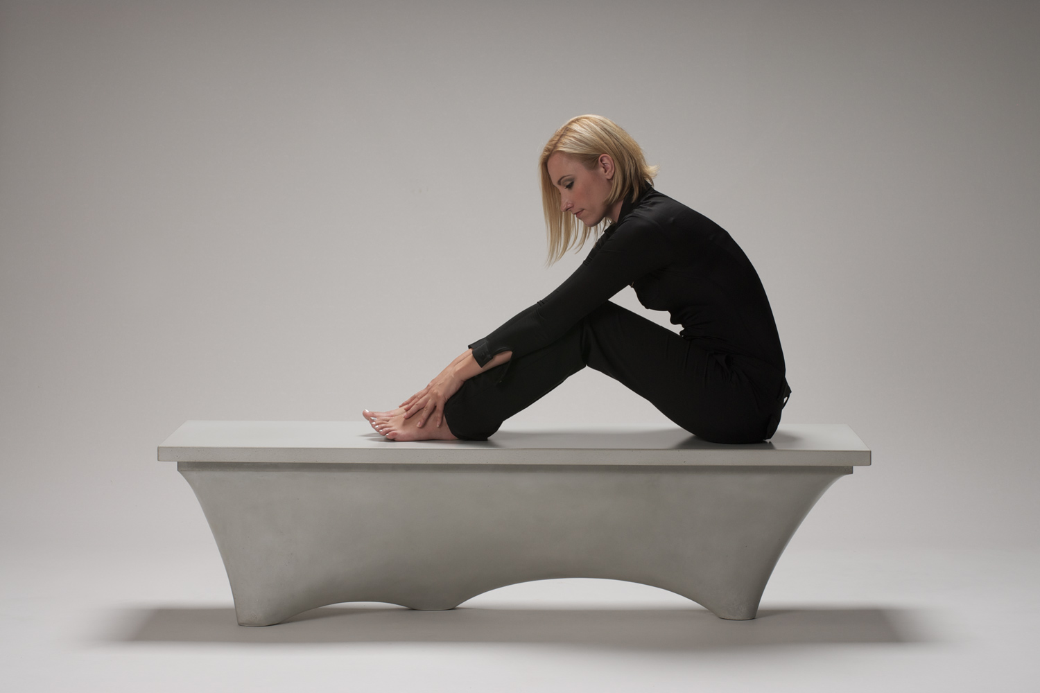 Organic modern fabric-formed GFRC concrete bench