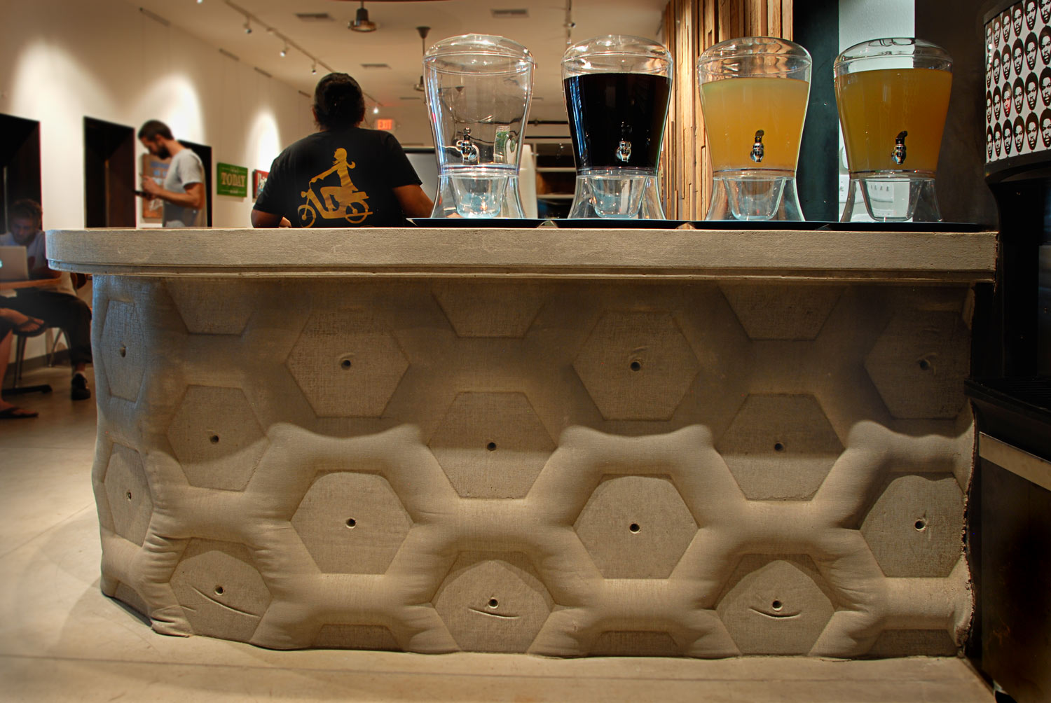 detail of the fabric formed concrete wall and countertop