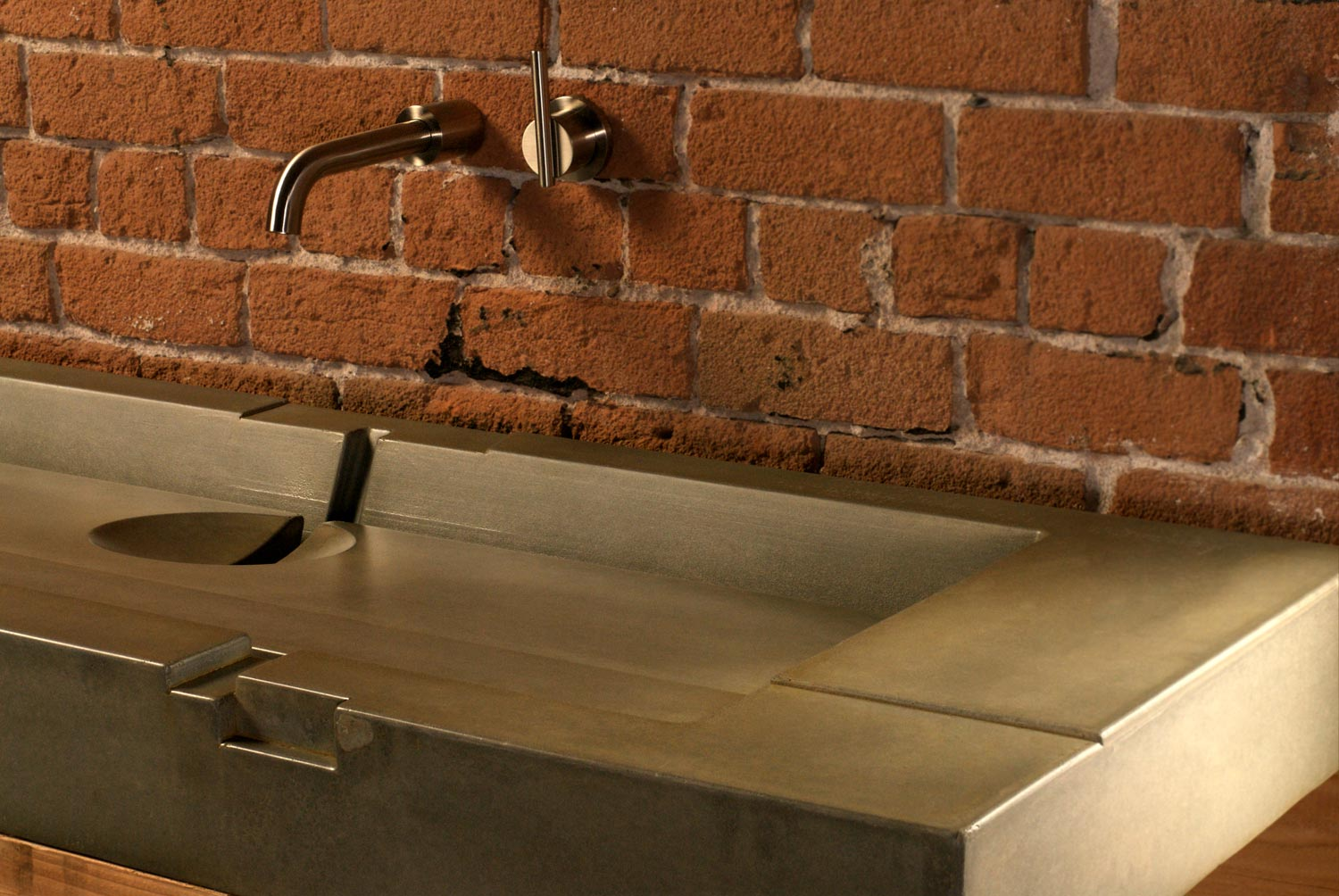 The Aztec Sink is a concrete sink featuring several layers and geometric design details. This particular sink is for a modern loft in downtown Phoenix, AZ