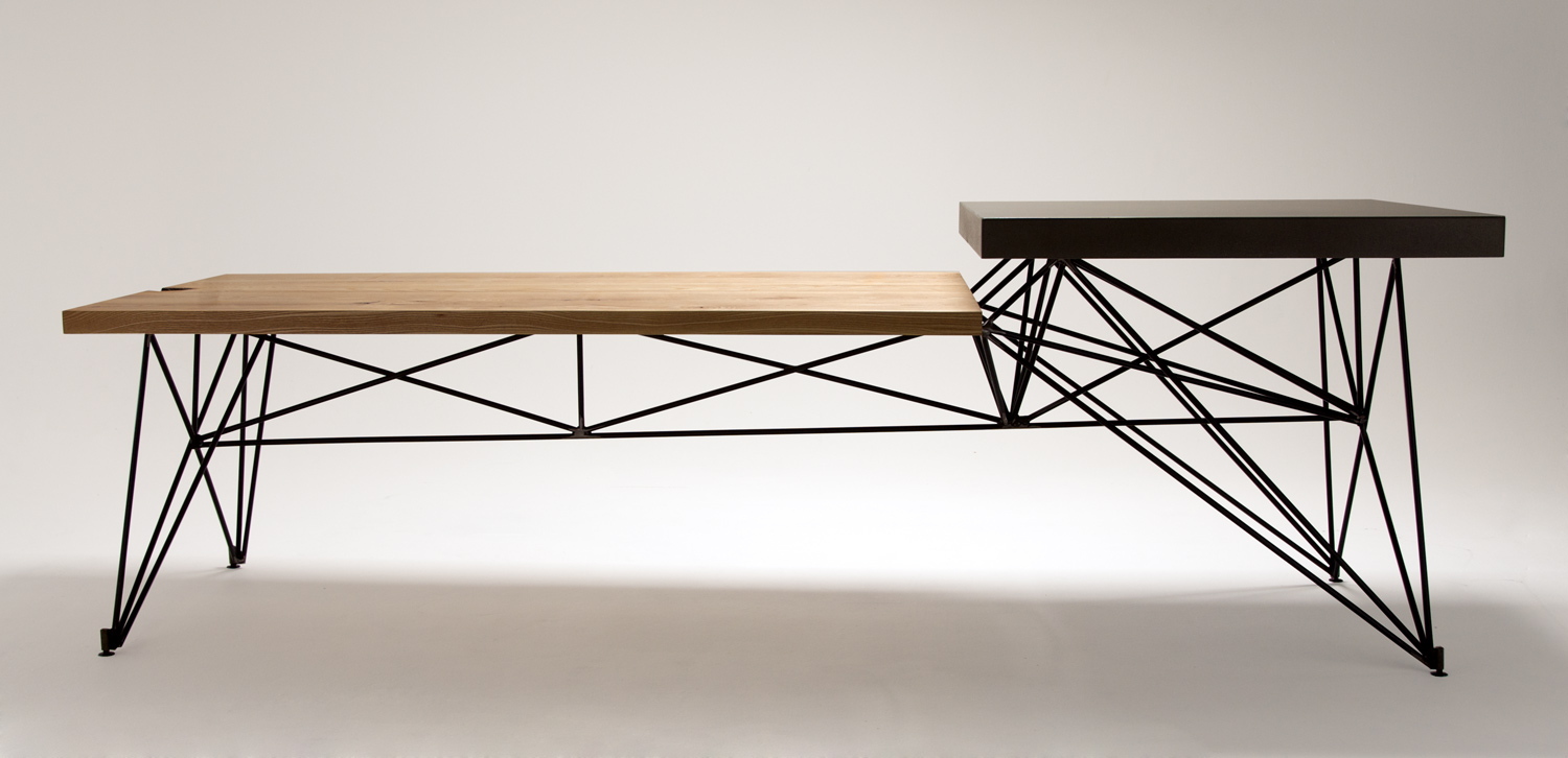 Organic Modern Concrete, Wood, and Steel Custom Table
