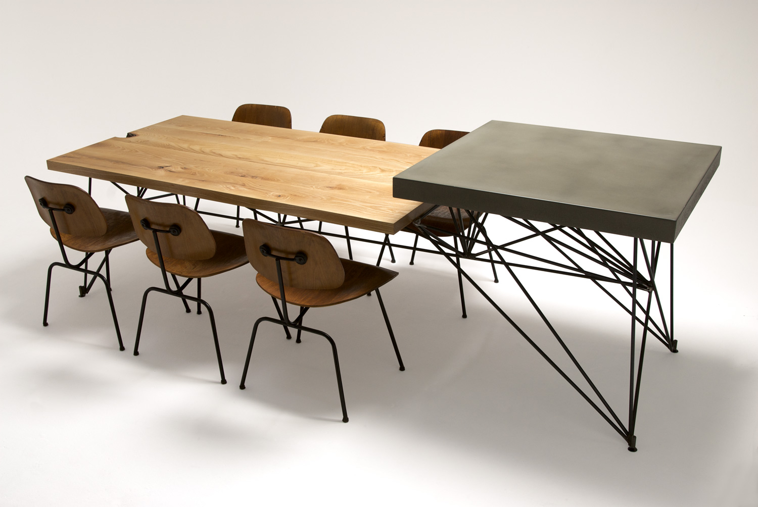 Mid Century Modern Concrete, Steel, and Wood Dining Table
