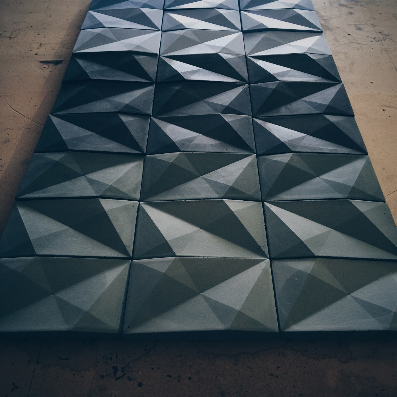 Custom color concrete wall tile handmade by Brandon Gore of Hard Goods
