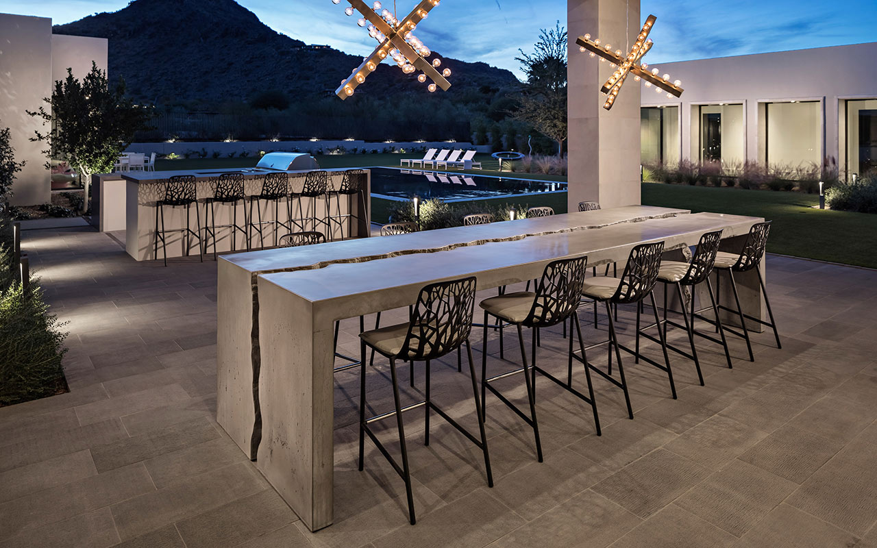 Modern cracked concrete table for private residence in Arizona
