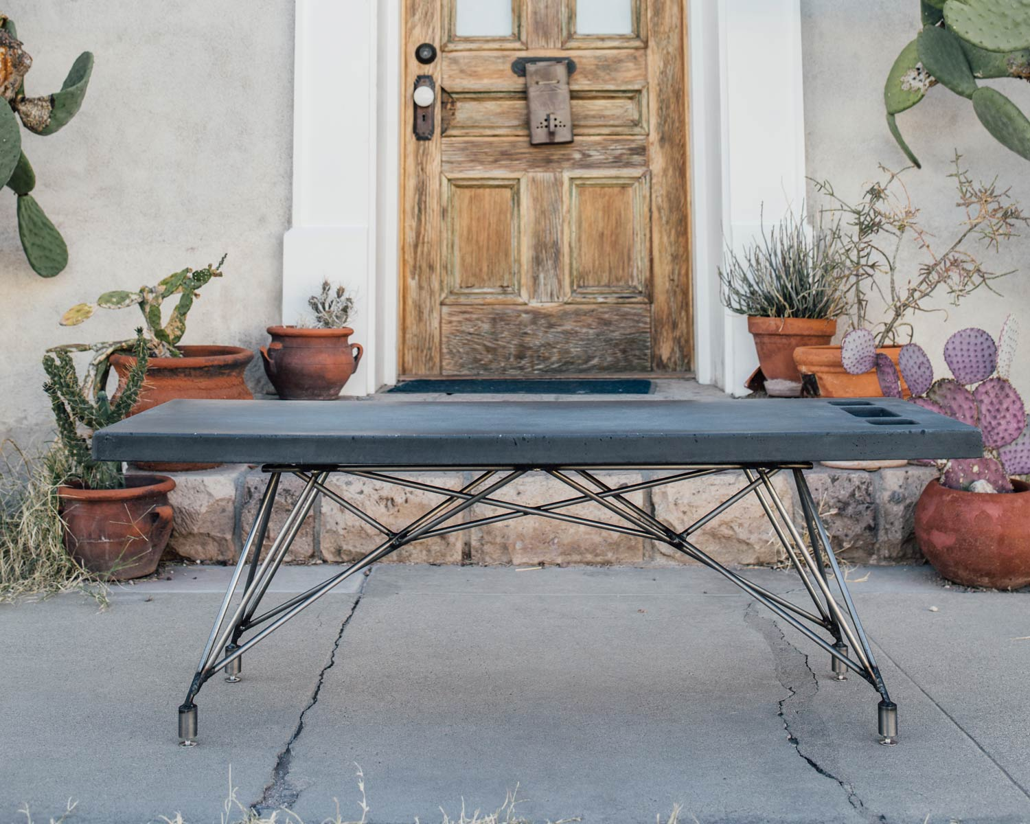 Charcoal concrete and natural steel base SLATE chalkboard coffee table in Tucson, AZ