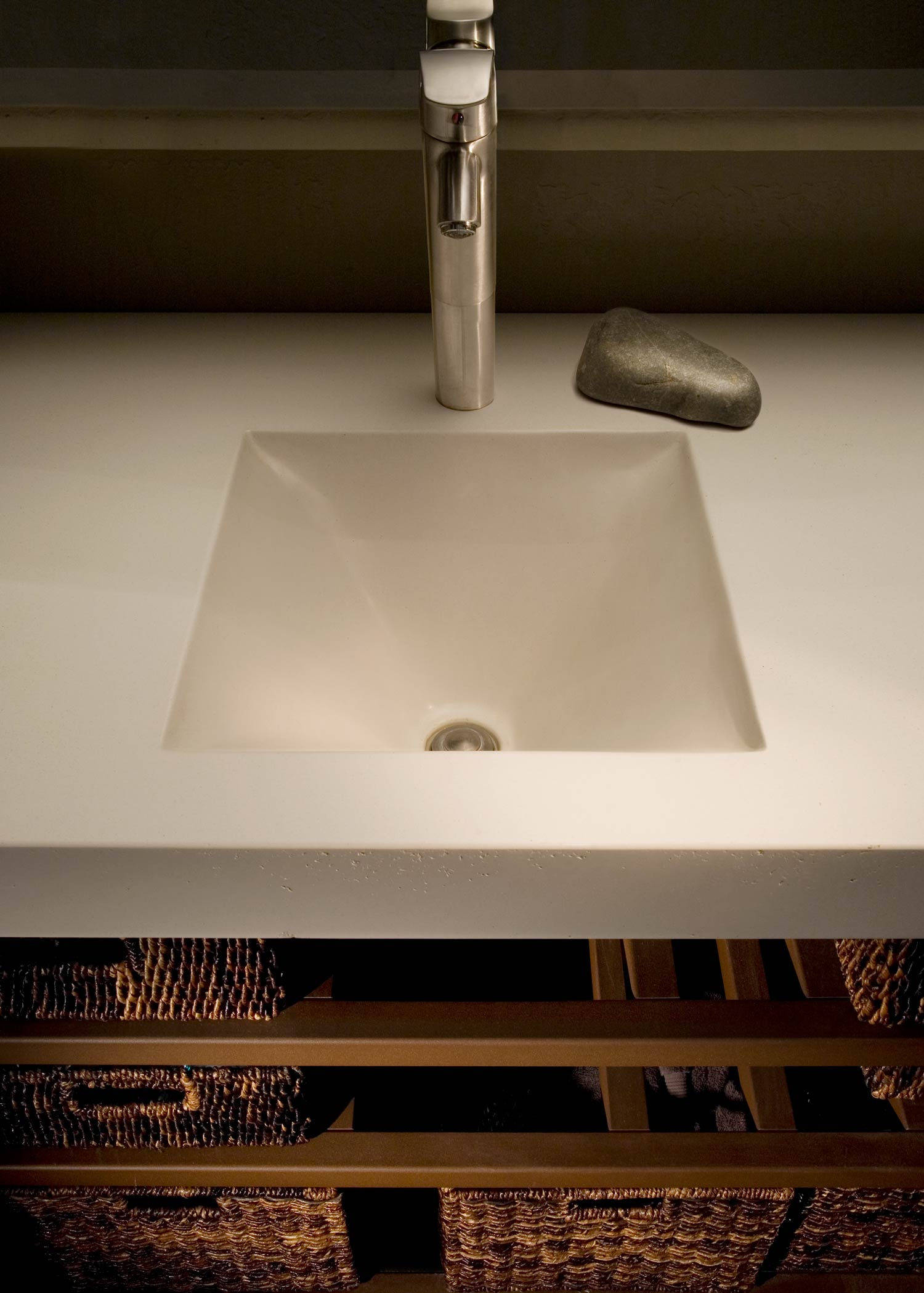 Modern white fabric formed GFRC concrete sink for a residence in Scottsdale, AZ
