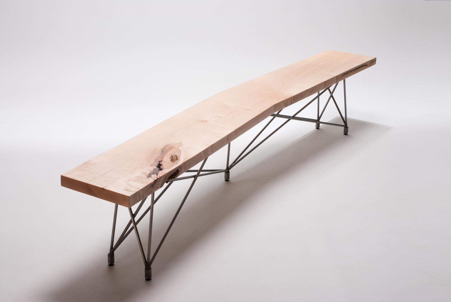 Custom wood + steel mid century modern bench