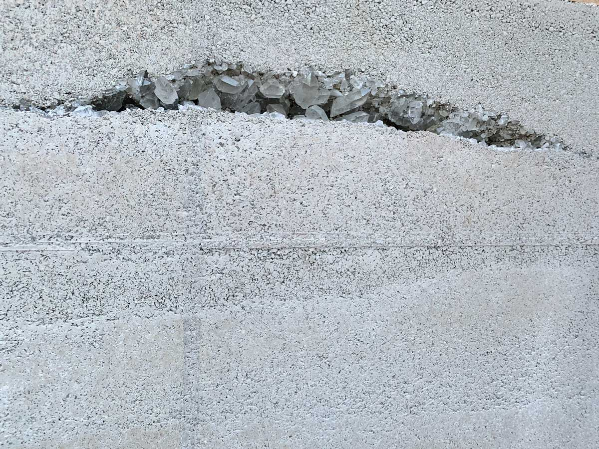 quartz crystals in a rammed earth wall in NW Arkansas