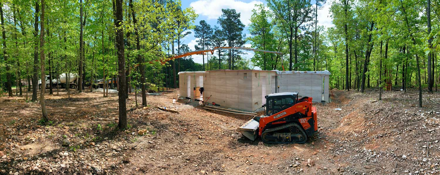 The construction site of a contemporary home in Arkansas