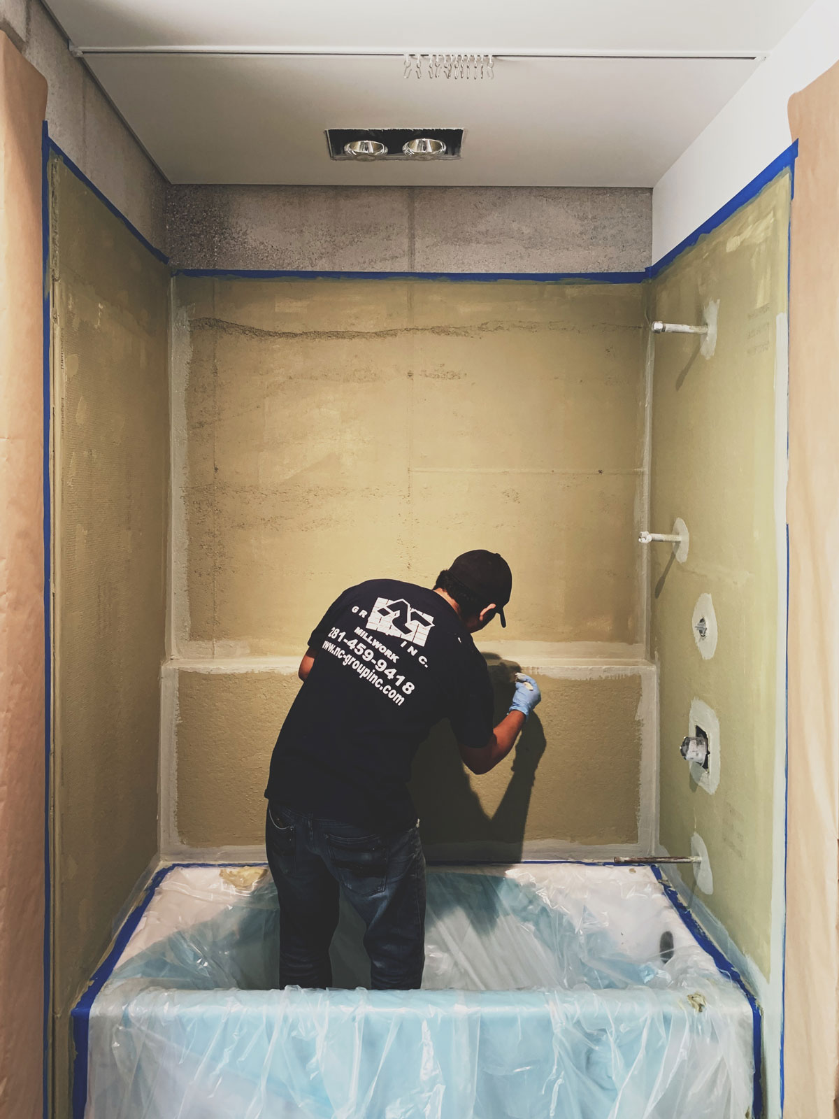 Waterproofing the tub and shower surround in preparation for tile